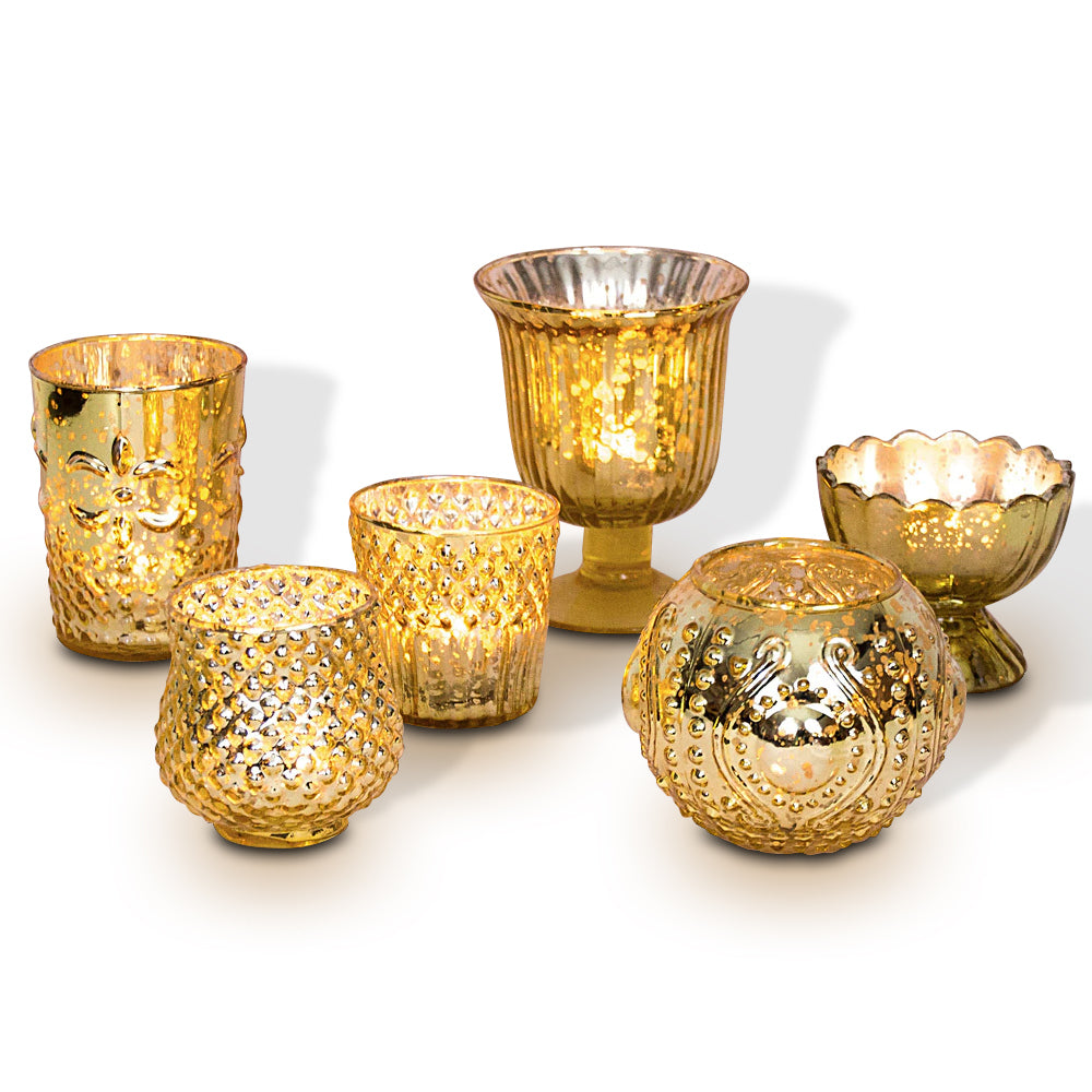 Mercury Glass Candle Holder Set