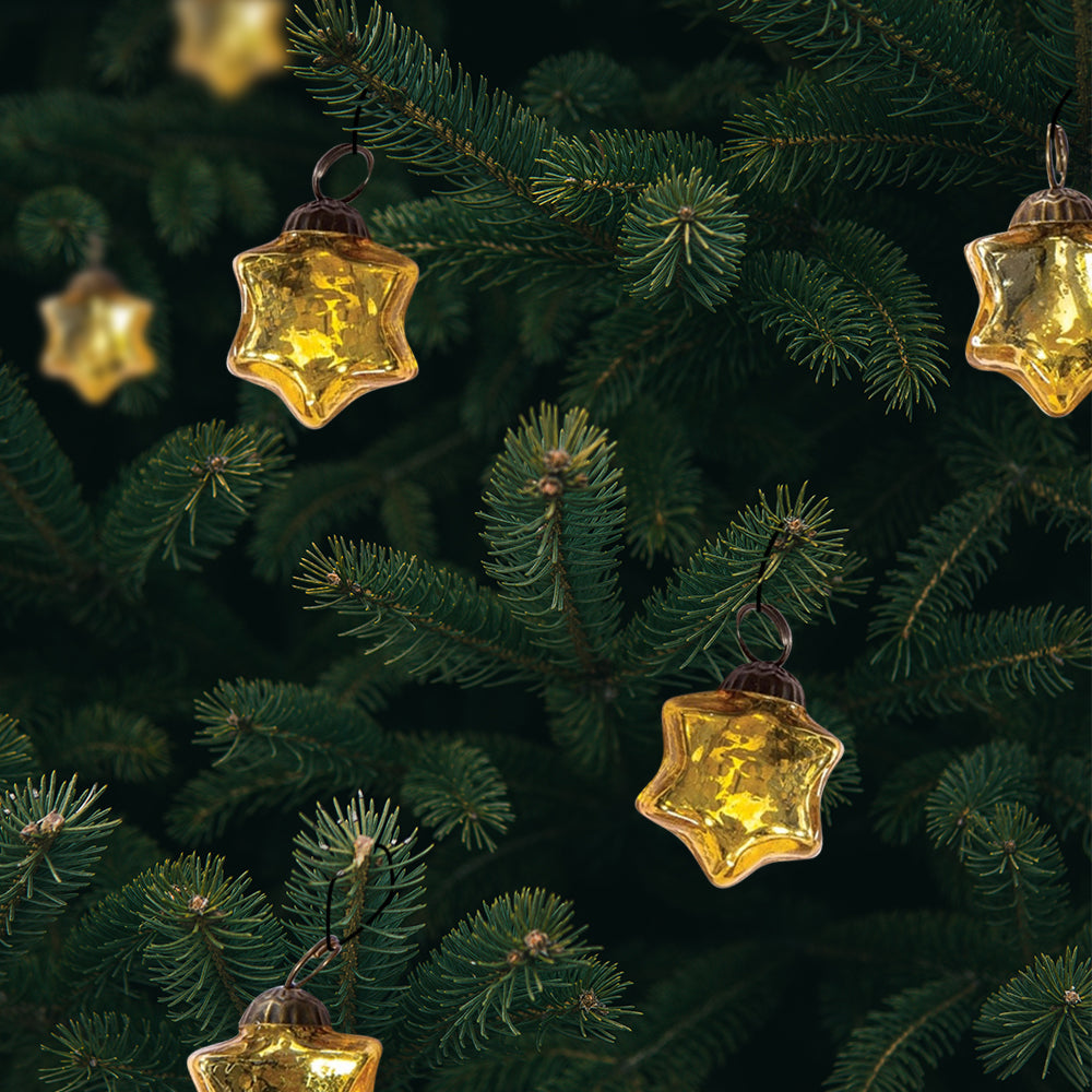 Mercury Glass Ornaments on Tree