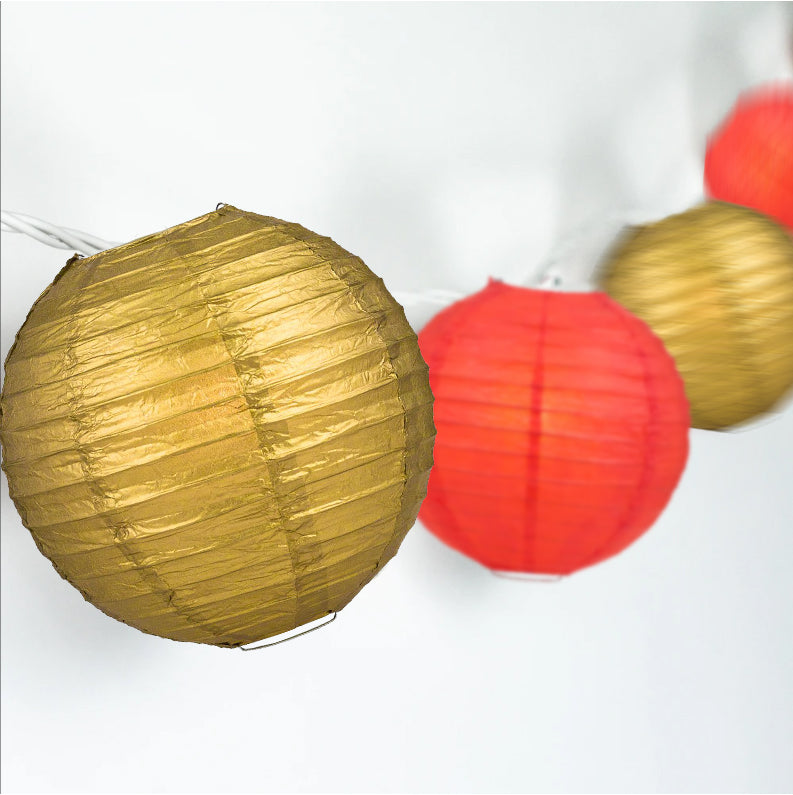 Gold and Red Paper Lantern String Lights