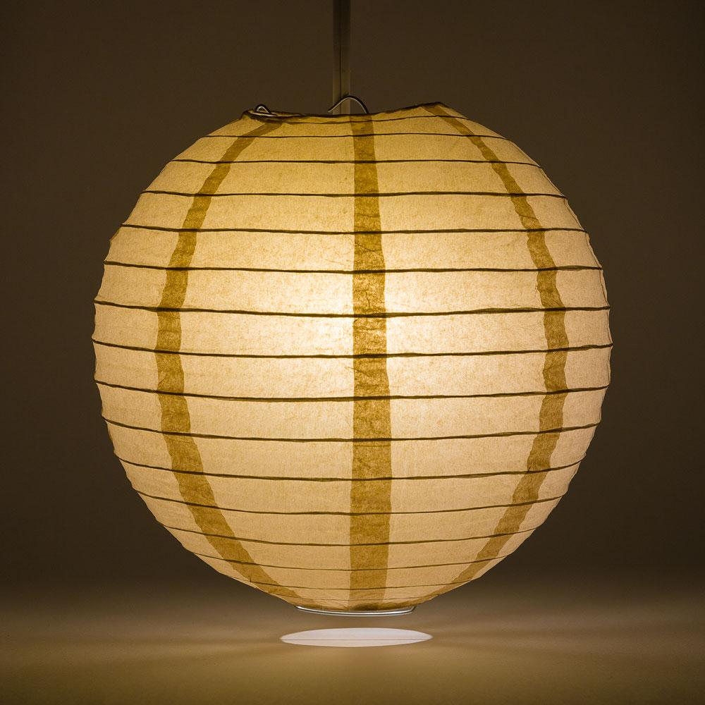 "14"" Mocha / Light Brown Parallel Ribbing Round Paper Lantern - Luna Bazaar 