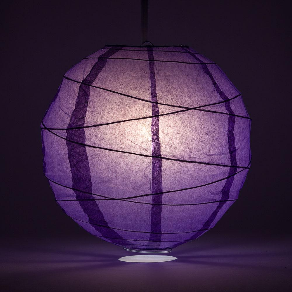 "8"" Royal Purple Free-Style Ribbing Round Paper Lantern - Luna Bazaar - Discover. Decorate. Celebrate"