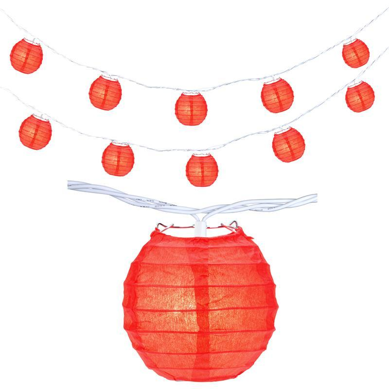 "10 Socket Red Round Paper Lantern Party String Lights (4"" Lanterns, Expandable) - Luna Bazaar 