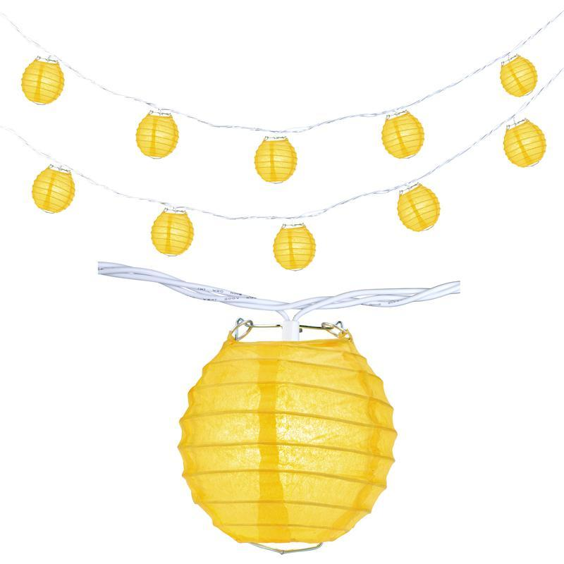 "10 Socket Yellow Round Paper Lantern Party String Lights (4"" Lanterns, Expandable) - Luna Bazaar 