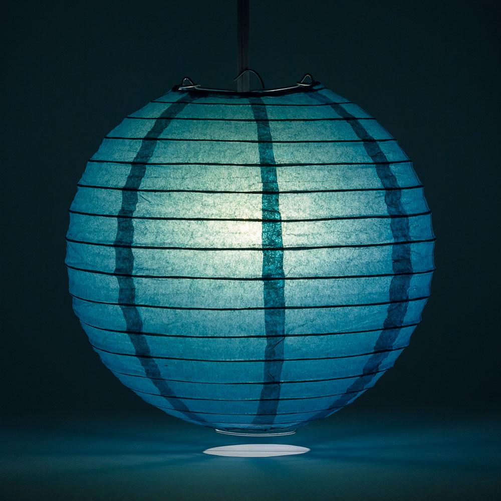 "12"" Tahiti Teal Parallel Ribbing Round Paper Lantern - Luna Bazaar - Discover. Decorate. Celebrate"