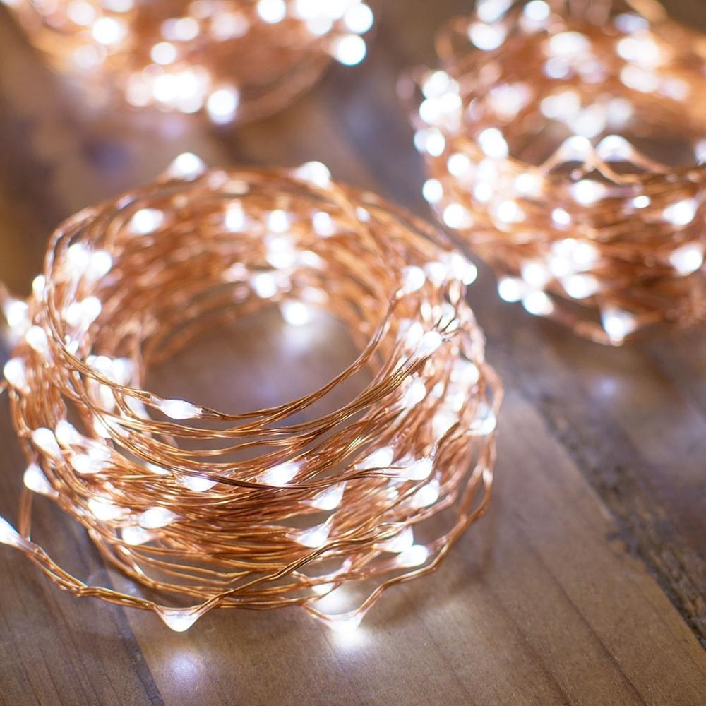 CLOSEOUT 33 FT 100 LED Cool White Waterproof Copper Wire Micro Fairy String Lights With Power Adaptor - Luna Bazaar | Boho & Vintage Style Decor