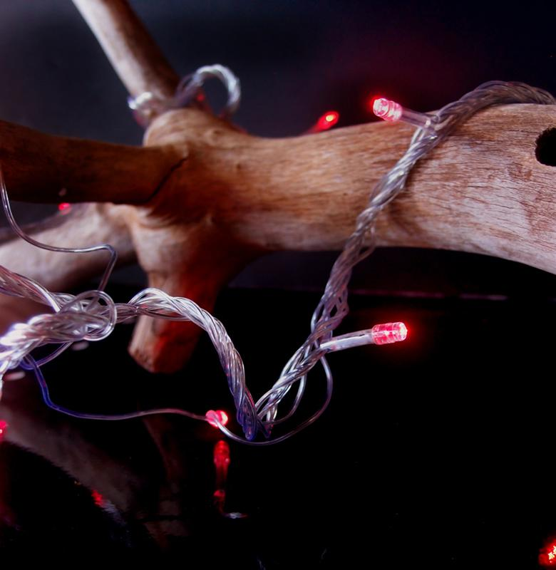 CLOSEOUT 100 Indoor/Dry Outdoor Red LED Mini String Lights, 28FT Clear Cord, Multi-flicker Modes - Luna Bazaar | Boho & Vintage Style Decor