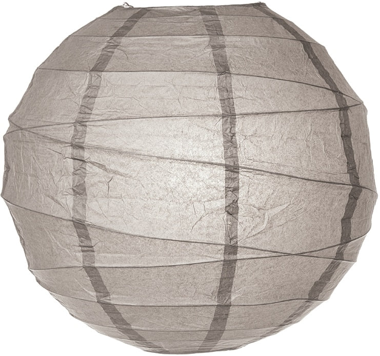 "12-Pack 16"" Gray / Grey Free-Style Ribbing Round Paper Lantern - Luna Bazaar - Discover. Decorate. Celebrate"
