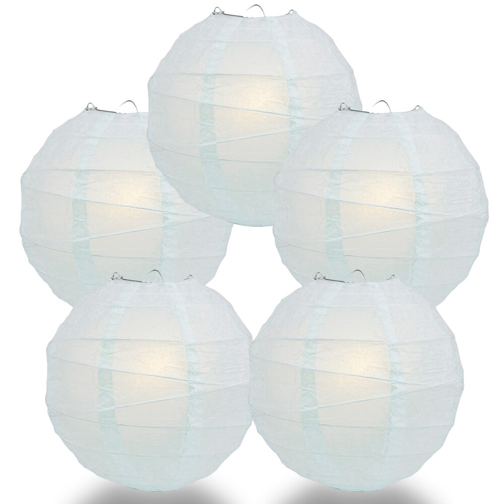"5-Pack 8"" Arctic Spa Blue Free-Style Ribbing Round Paper Lantern - Luna Bazaar 
