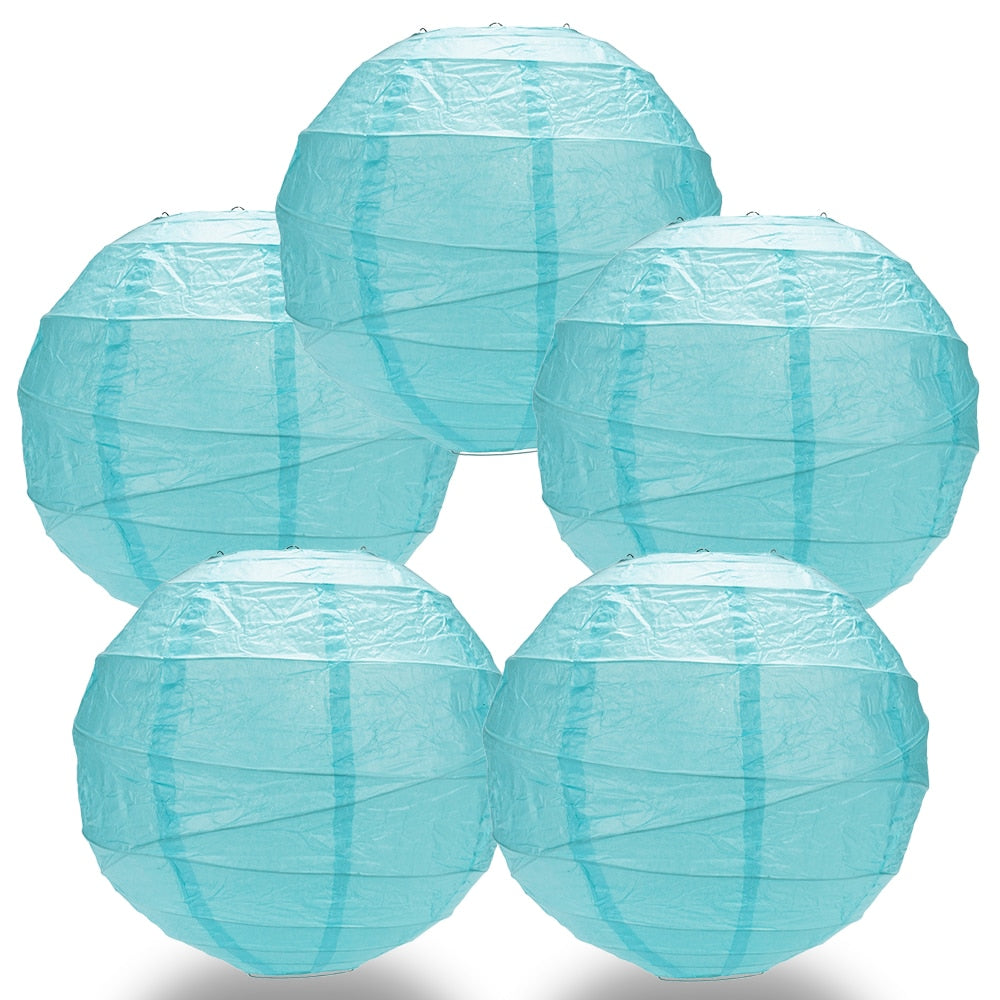 "5-Pack 24"" Baby Blue Free-Style Ribbing Round Paper Lantern - Luna Bazaar - Discover. Decorate. Celebrate"