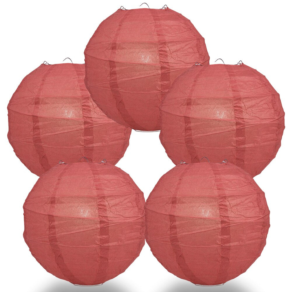 "5-Pack 6"" Marsala / Burgundy Wine Free-Style Ribbing Round Paper Lantern - Luna Bazaar - Discover. Decorate. Celebrate"