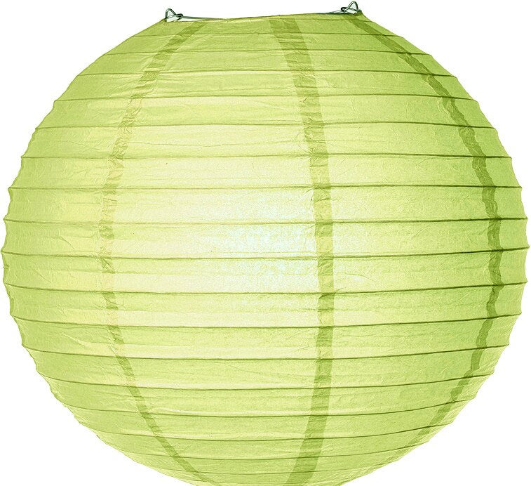 CLOSEOUT Yellow-Green 18 Inch Round No Frills Parallel Ribbed Paper Lantern - Luna Bazaar | Boho & Vintage Style Decor