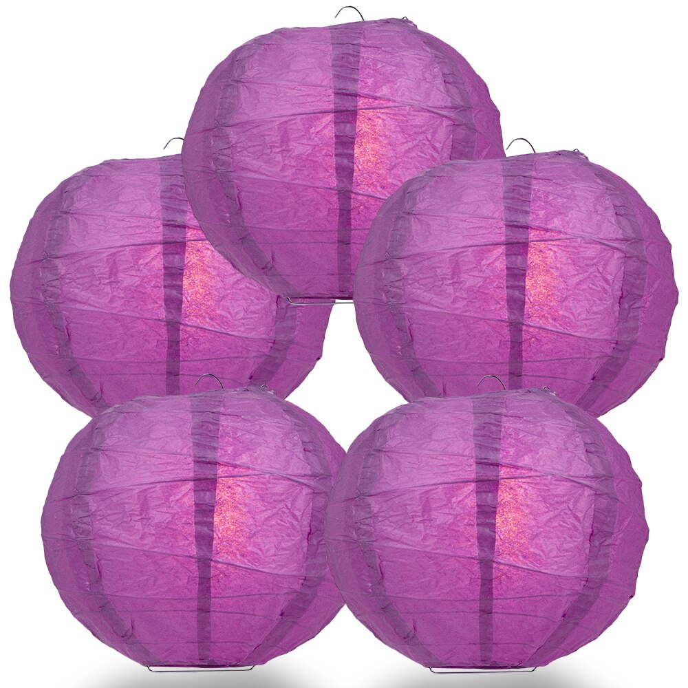 "5-Pack 14"" Violet / Orchid Free-Style Ribbing Round Paper Lantern - Luna Bazaar 