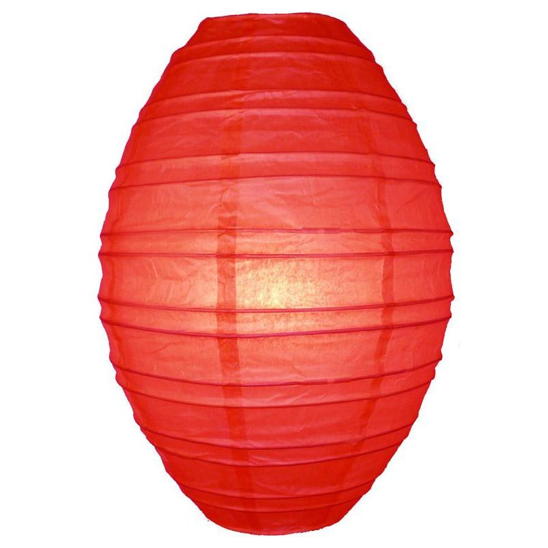 Red Kawaii Unique Oval Egg Shaped Paper Lantern, 10-inch x 14-inch - Luna Bazaar | Boho & Vintage Style Decor