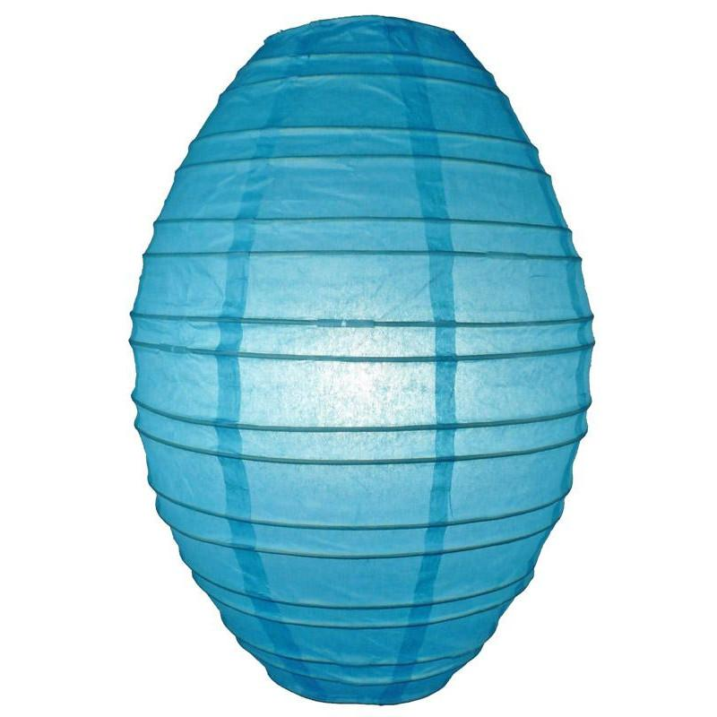 Turquoise Kawaii Unique Oval Egg Shaped Paper Lantern, 10-inch x 14-inch - Luna Bazaar | Boho & Vintage Style Decor