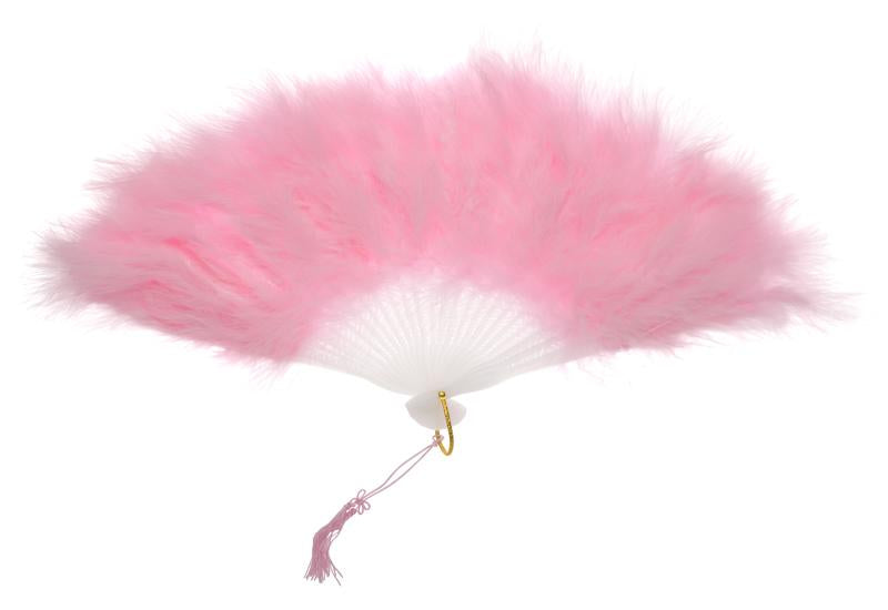 "11"" Pink Marabou Feather Hand Fan for Weddings - Luna Bazaar 