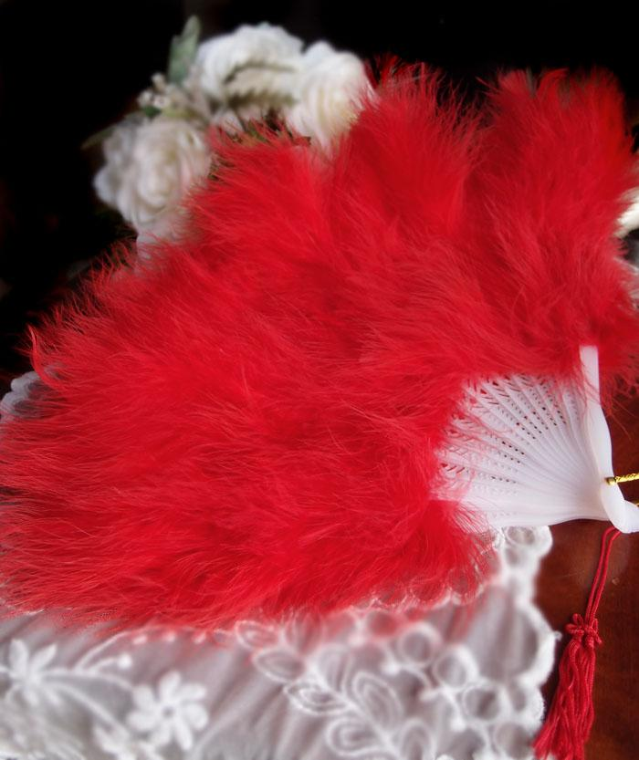 "CLOSEOUT 11"" Red Marabou Feather Hand Fan for Weddings - Luna Bazaar - Discover. Decorate. Celebrate"