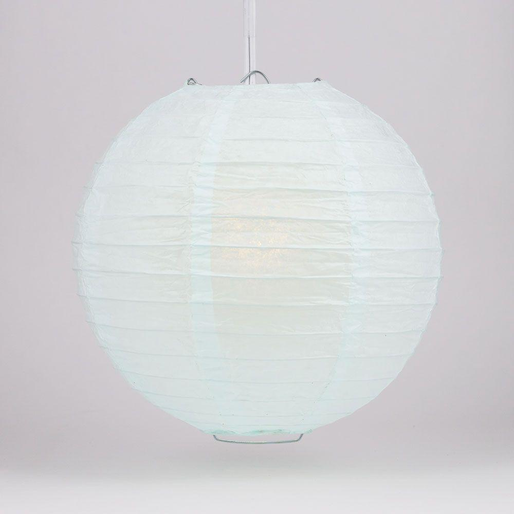 "4"" Arctic Spa Blue Parallel Ribbing Round Paper Lantern (10 PACK) - Luna Bazaar 