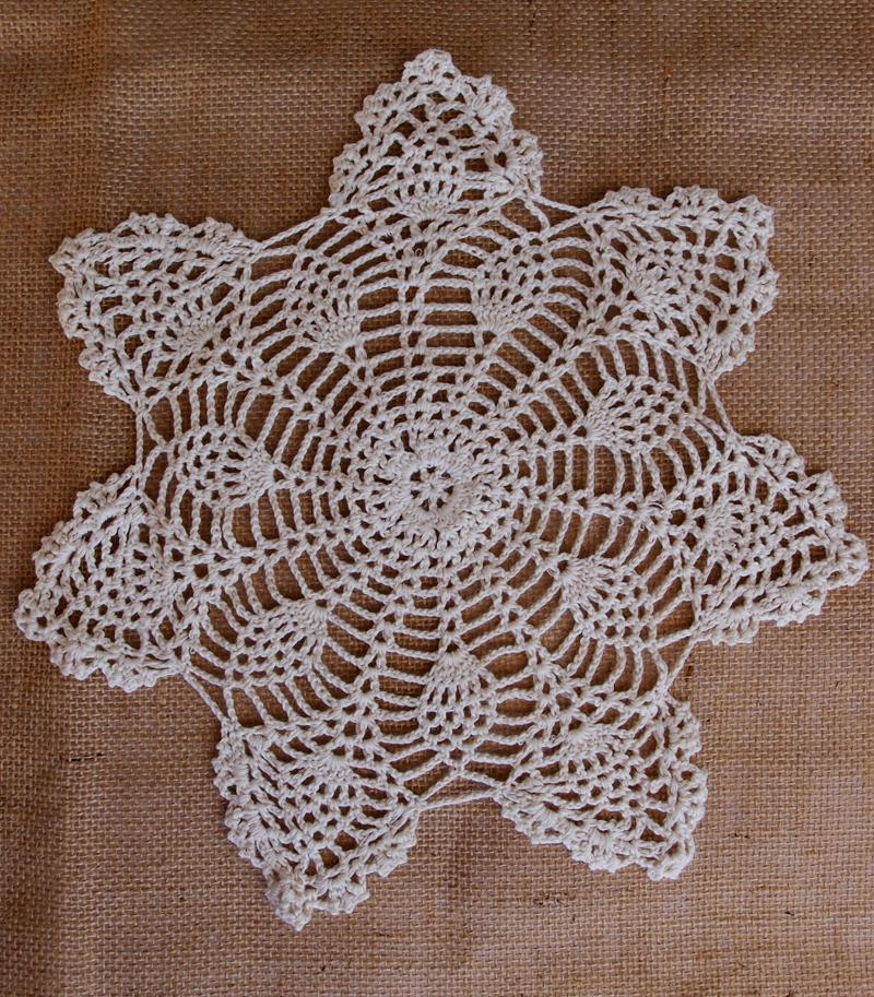 "CLOSEOUT 11.5"" Bloom Shaped Crochet Lace Doily Placemats, Handmade Cotton Doilies - Beige (2 Pack) - Luna Bazaar 