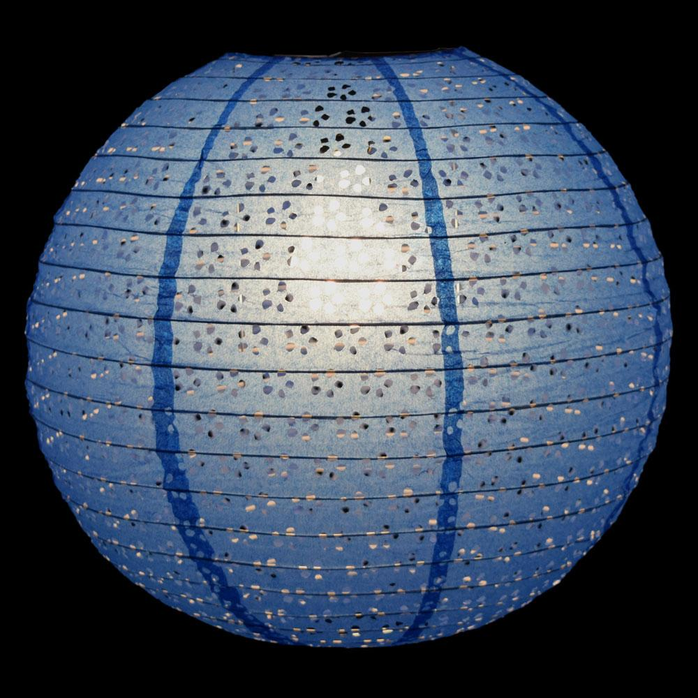 "CLOSEOUT 12"" Round Eyelet Lace Look Paper Lantern - Dark Blue - Luna Bazaar - Discover. Decorate. Celebrate"