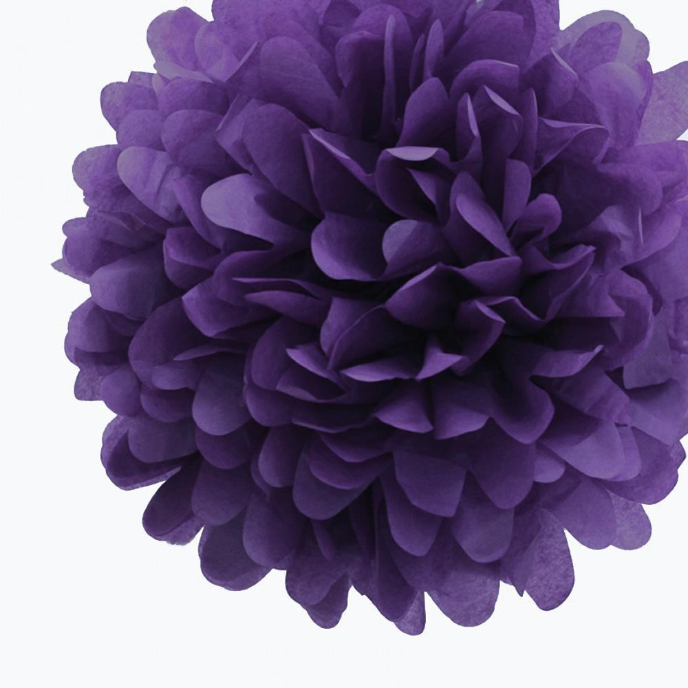 "CLOSEOUT EZ-Fluff 12"" Plum Tissue Paper Pom Poms Flowers Balls, Decorations (4 PACK) - Luna Bazaar - Discover. Decorate. Celebrate"