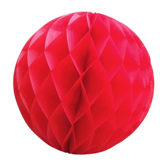 "CLOSEOUT 12"" Red Round Tissue Lantern, Honeycomb Ball, Hanging (3 Pack) - Luna Bazaar - Discover. Decorate. Celebrate"