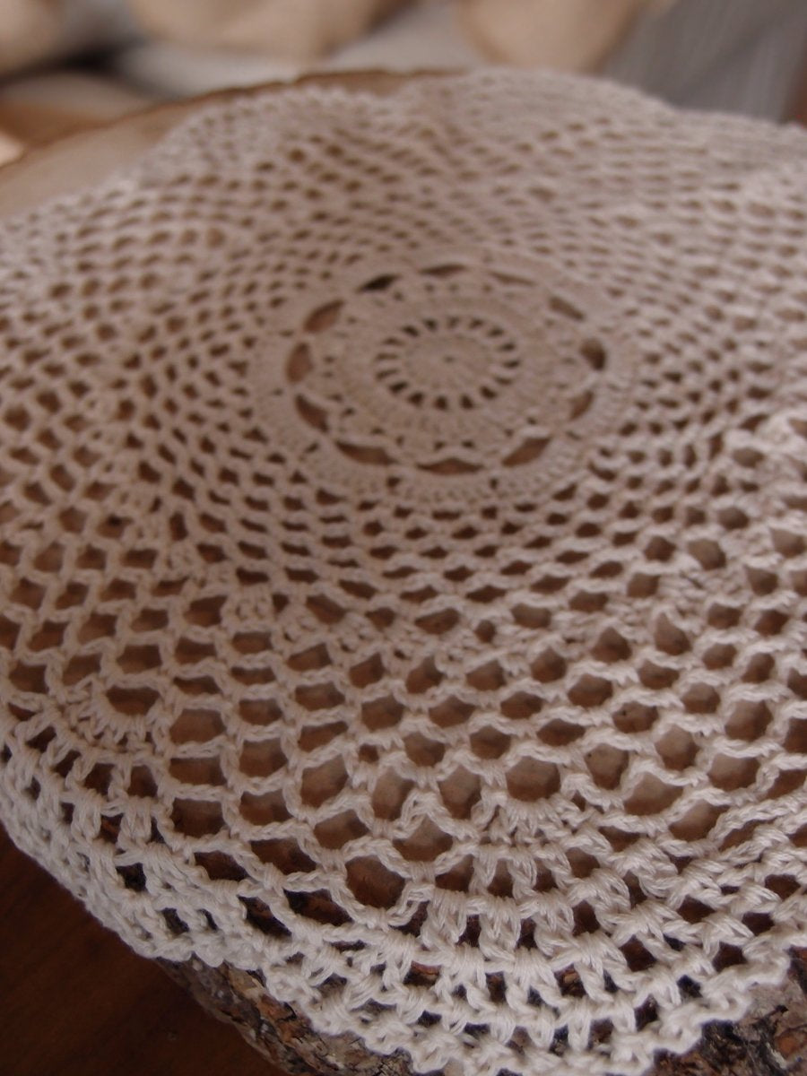"CLOSEOUT 11.5"" Round Shaped Crochet Lace Doily Placemats, Handmade Cotton Doilies - Beige (2 Pack) - Luna Bazaar 
