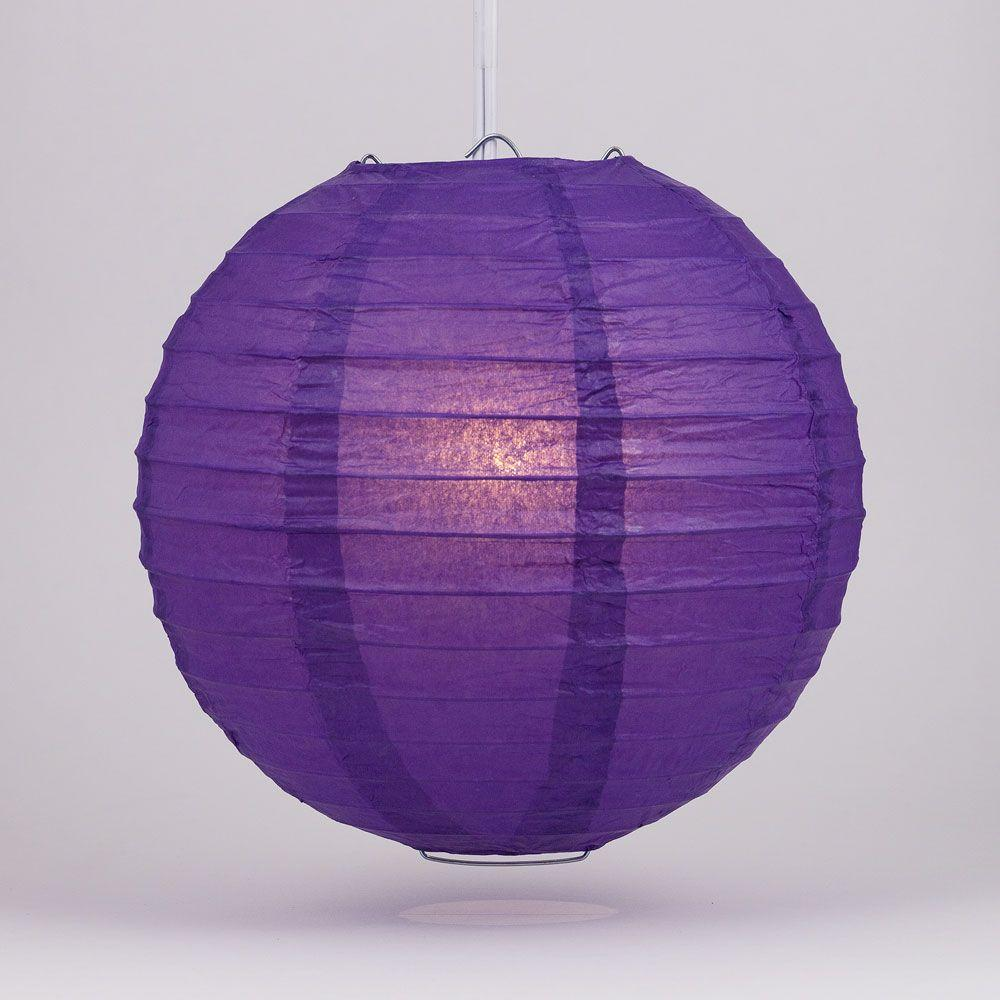 "4"" Royal Purple Parallel Ribbing Round Paper Lantern (10 PACK) - Luna Bazaar 