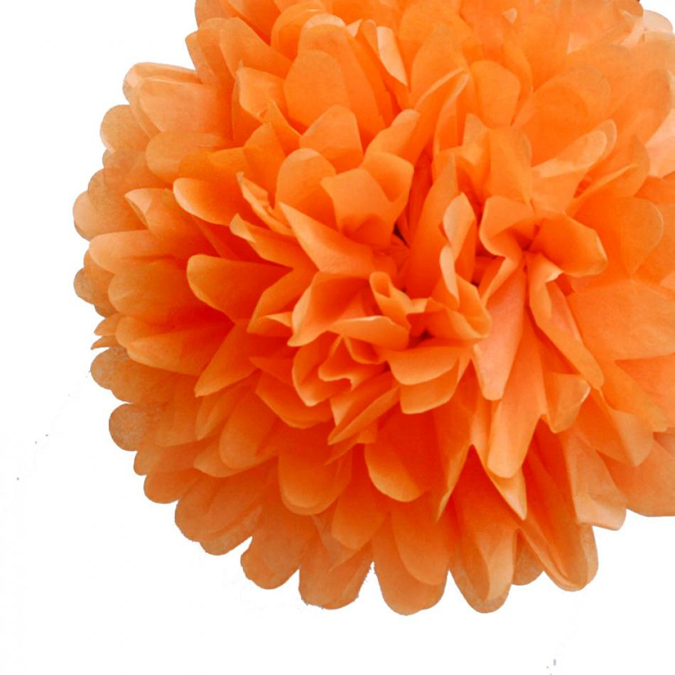 "EZ-Fluff 20"" Orange Tissue Paper Pom Poms Flowers Balls, Decorations (4 PACK) - Luna Bazaar 