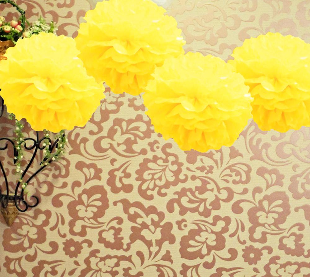 EZ-Fluff 16'' Yellow Tissue Paper Pom Poms Flowers Balls, Decorations (4 PACK) - Luna Bazaar - Discover. Decorate. Celebrate