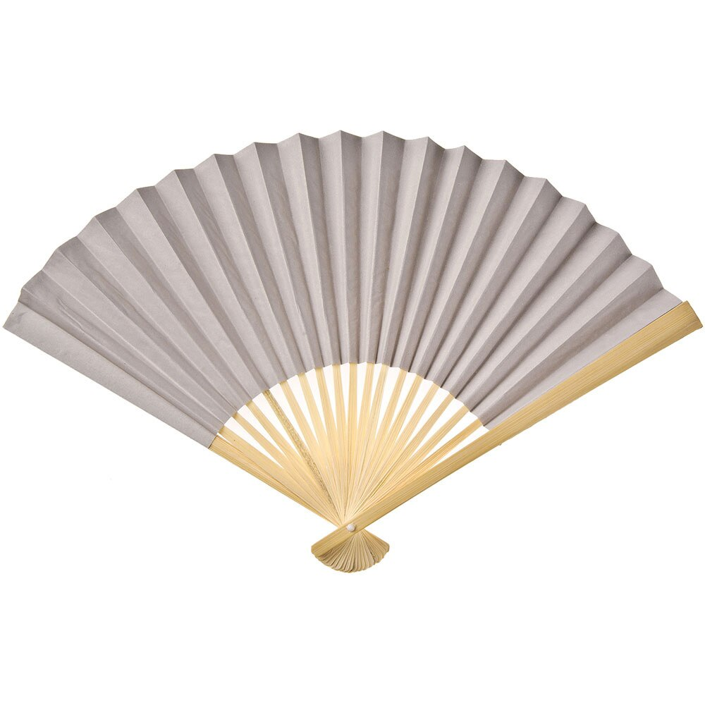 Feather Grey Premium Paper Hand Fan, Set of 5 - Luna Bazaar - Discover. Decorate. Celebrate