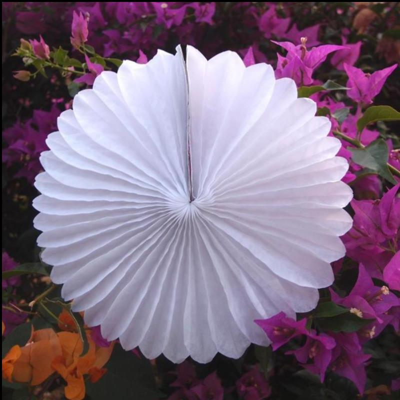 "12"" White Tissue Paper Flower Rosette Fan Decoration (6 Pack) - Luna Bazaar 