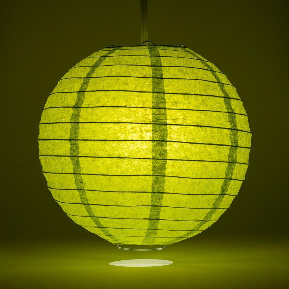 "24"" Chartreuse Parallel Ribbing Round Paper Lantern - Luna Bazaar - Discover. Decorate. Celebrate"