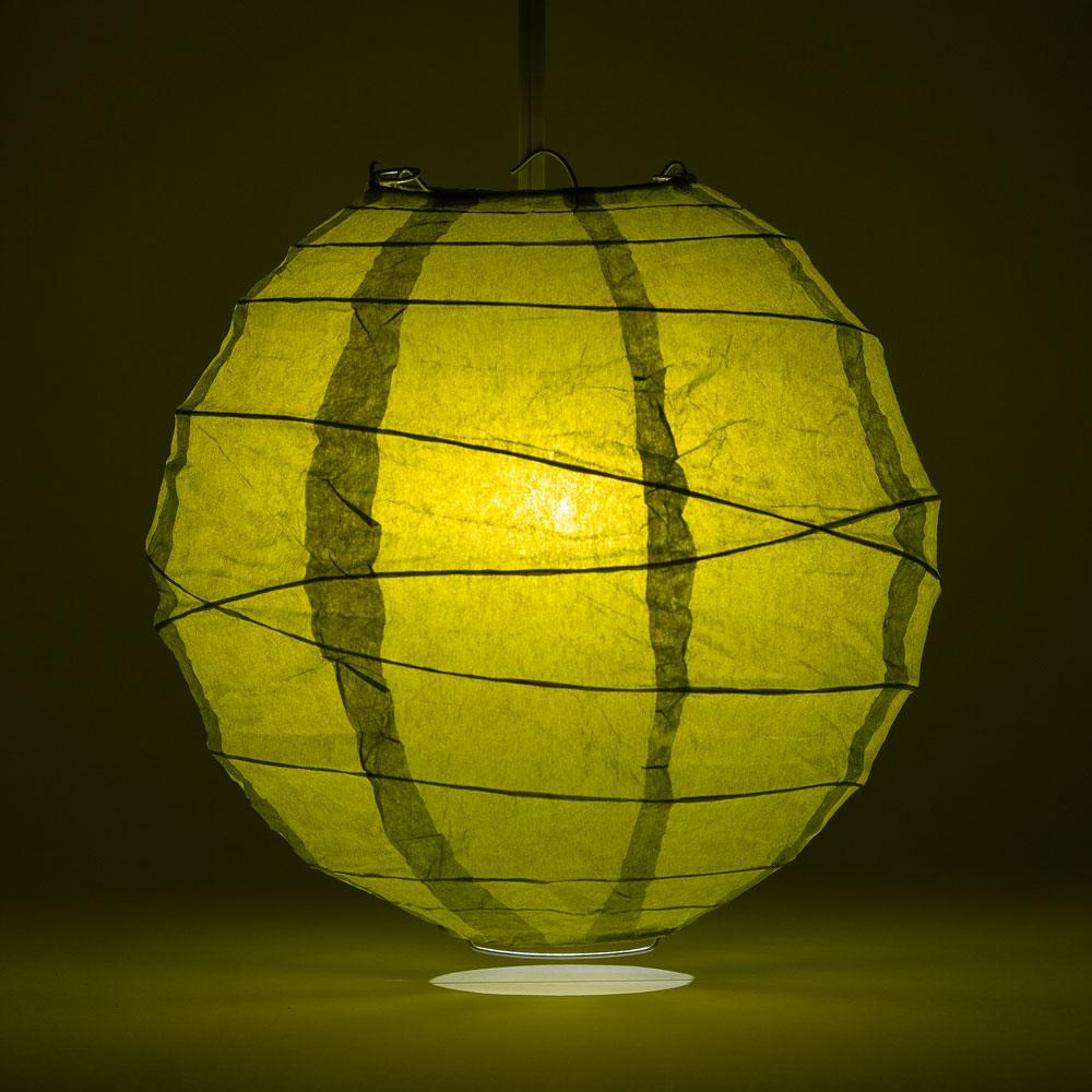 "14"" Chartreuse Yellow Green Free-Style Ribbing Round Paper Lantern - Luna Bazaar 