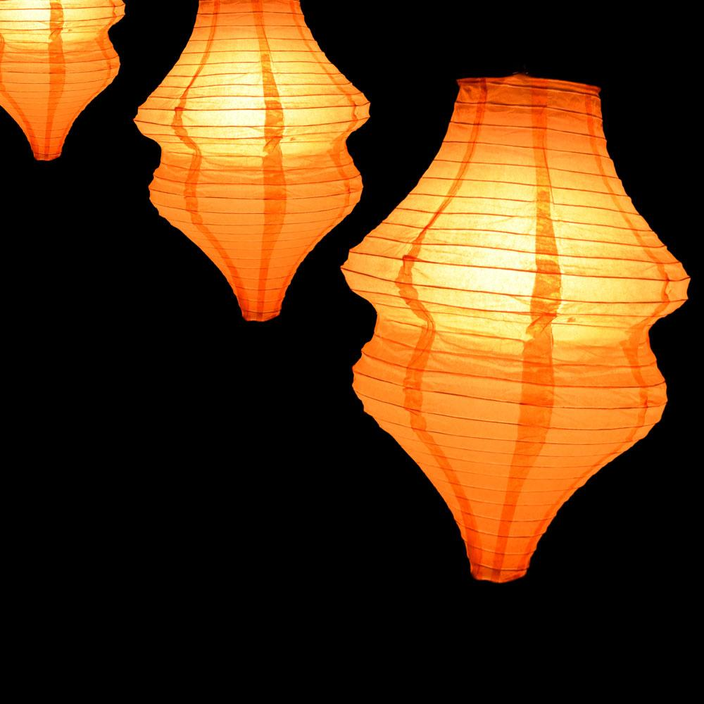 Orange Beehive Unique Shaped Paper Lantern, 10-inch x 14-inch - Luna Bazaar | Boho & Vintage Style Decor