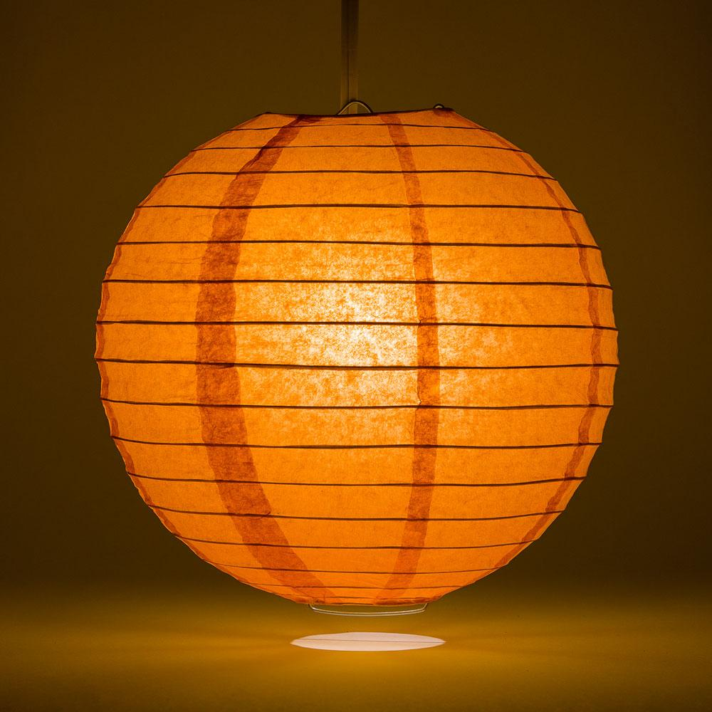 "16"" Persimmon Orange Parallel Ribbing Round Paper Lantern - Luna Bazaar 