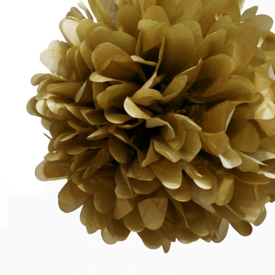 "EZ-Fluff 16"" Gold Tissue Paper Pom Pom Flower Balls (4 Pack) - Luna Bazaar - Discover. Decorate. Celebrate"