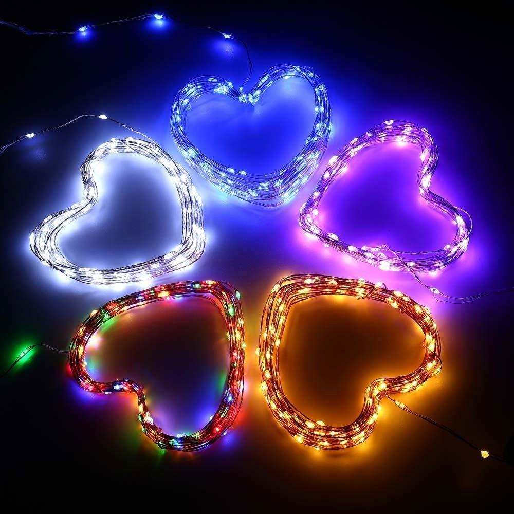 7.5 FT 20 LED Battery Operated Amber Fairy String Lights With Silver Wire - Luna Bazaar - Discover. Decorate. Celebrate