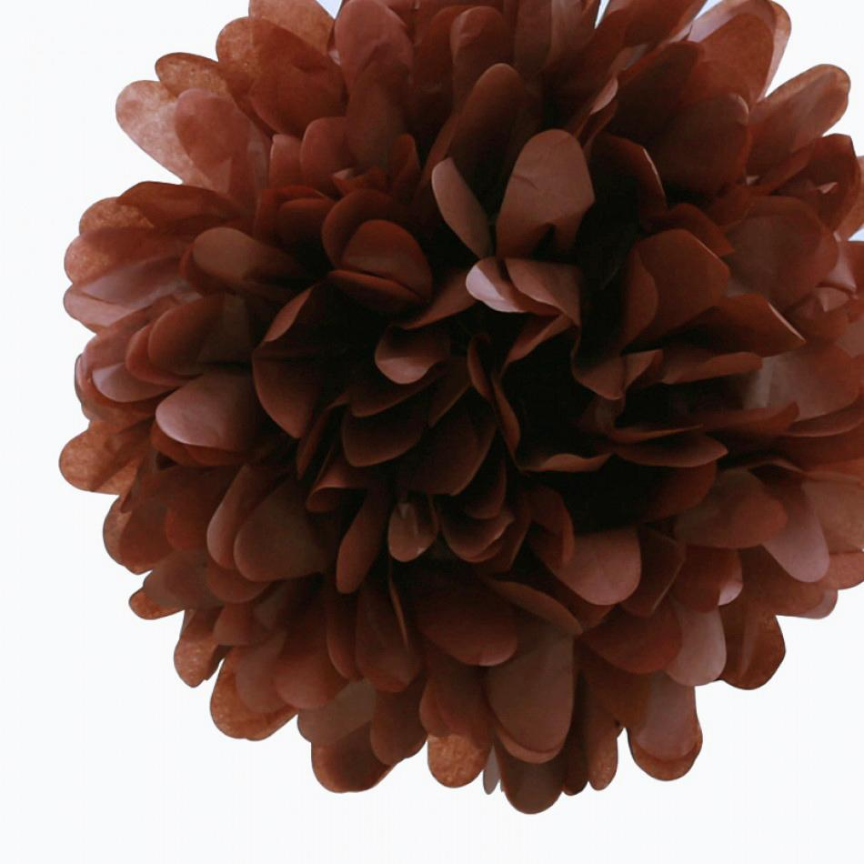 "CLOSEOUT EZ-Fluff 20"" Tissue Pom Pom - Brown (4 PACK) - Luna Bazaar - Discover. Decorate. Celebrate"