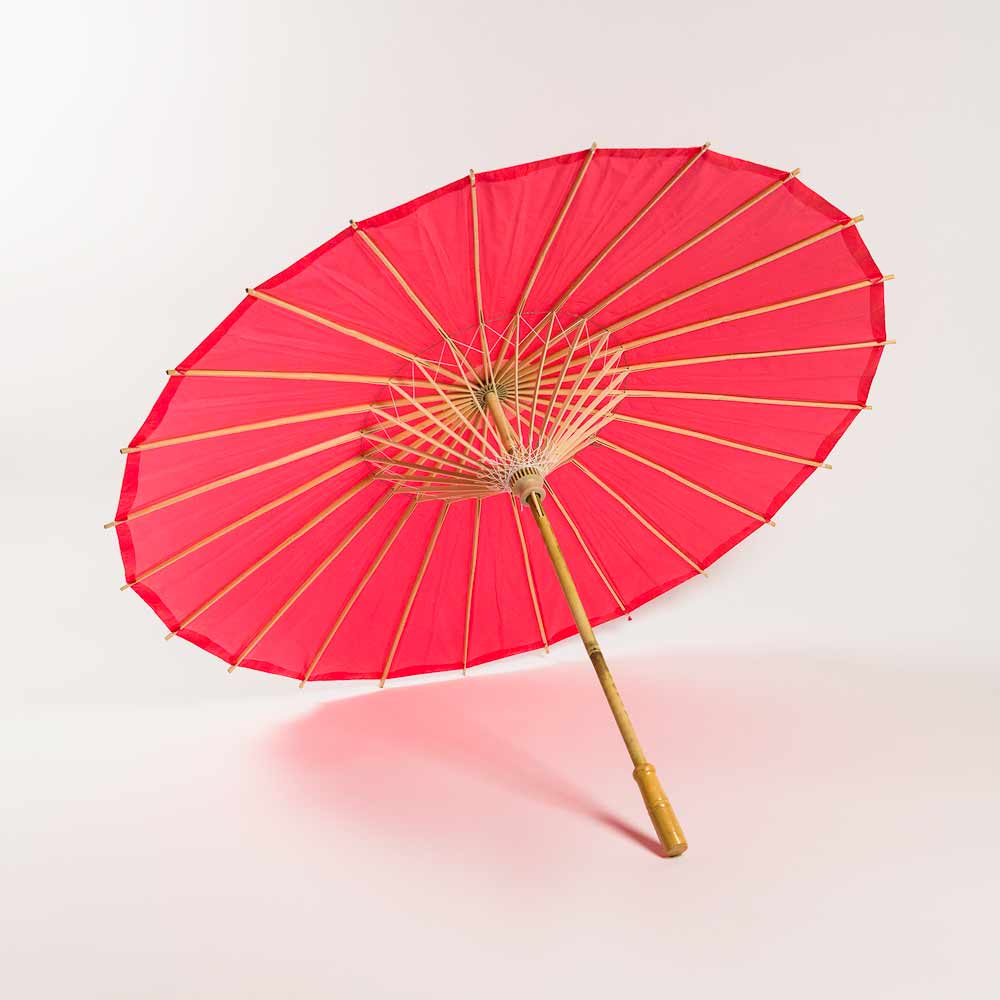"20"" Red Paper Parasol Umbrella for Weddings and Parties - Great for Kids (Sun Protection) - Luna Bazaar 