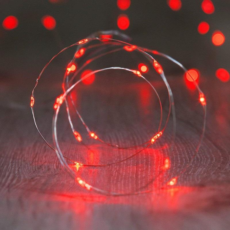 7.5 FT 20 LED Battery Operated Red Fairy String Lights With Silver Wire - Luna Bazaar | Boho & Vintage Style Decor