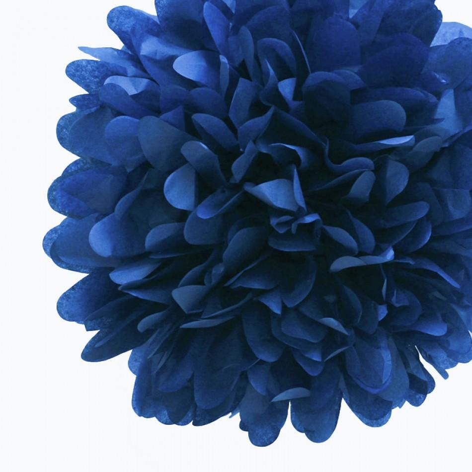 "EZ-Fluff 20"" Navy Blue Tissue Paper Pom Poms Flowers Balls, Decorations (4 PACK) - Luna Bazaar - Discover. Decorate. Celebrate"