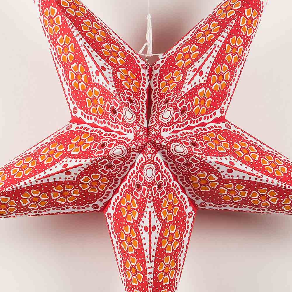 "24"" Red Petal Paper Star Lantern, Chinese Hanging Wedding & Party Decoration - Luna Bazaar 