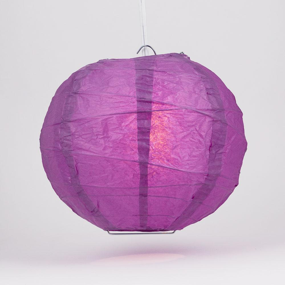 "16"" Violet / Orchid Free-Style Ribbing Round Paper Lantern - Luna Bazaar 