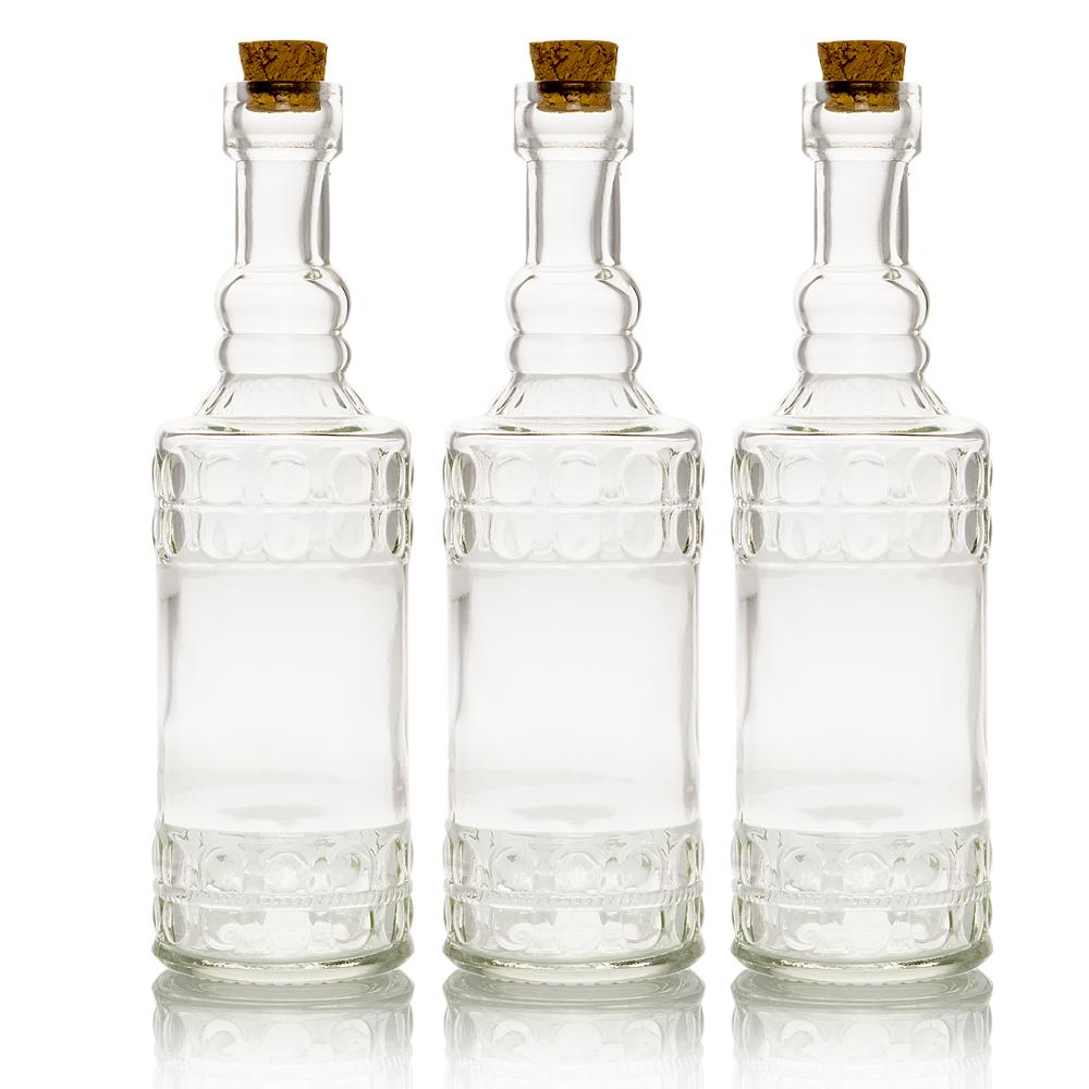 "3-Pack 6.6"" Calista Clear Vintage Glass Bottle with Wedding Flower Bud Vase with Cork - Luna Bazaar 