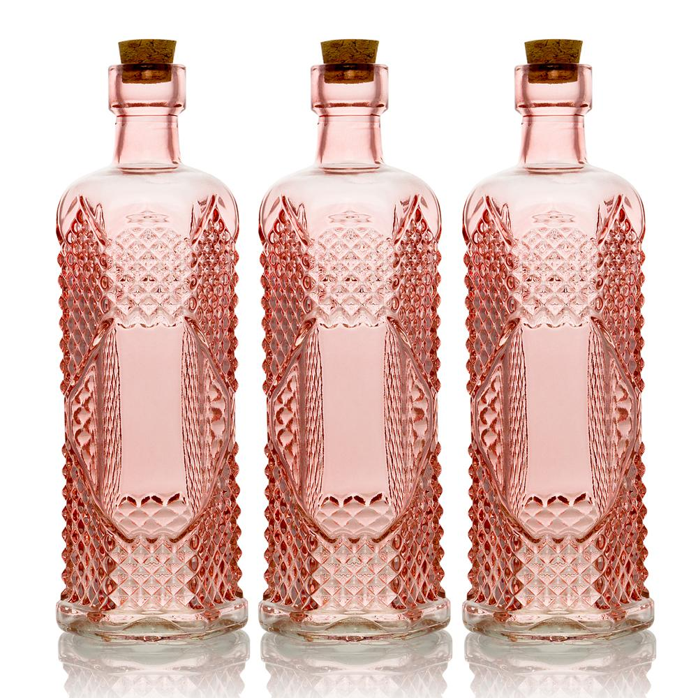 "3-Pack 6.5"" Aria Pink Vintage Glass Bottle with Wedding Flower Bud Vase with Cork - Luna Bazaar 
