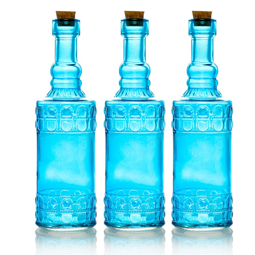 "3-Pack 6.6"" Calista Turquoise Vintage Glass Bottle with Wedding Flower Bud Vase with Cork - Luna Bazaar 