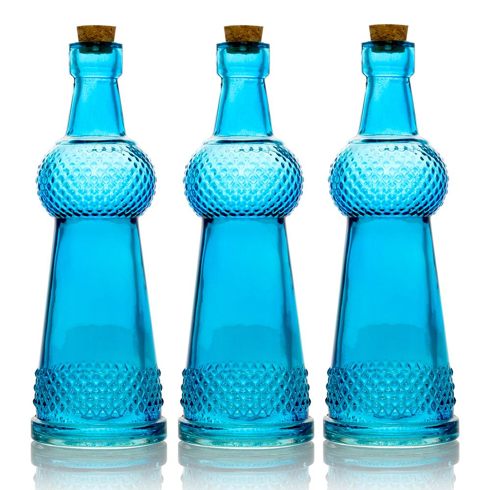 "3-Pack 6.6"" Turquoise Clear Vintage Glass Bottle with Wedding Flower Bud Vase with Cork - Luna Bazaar 