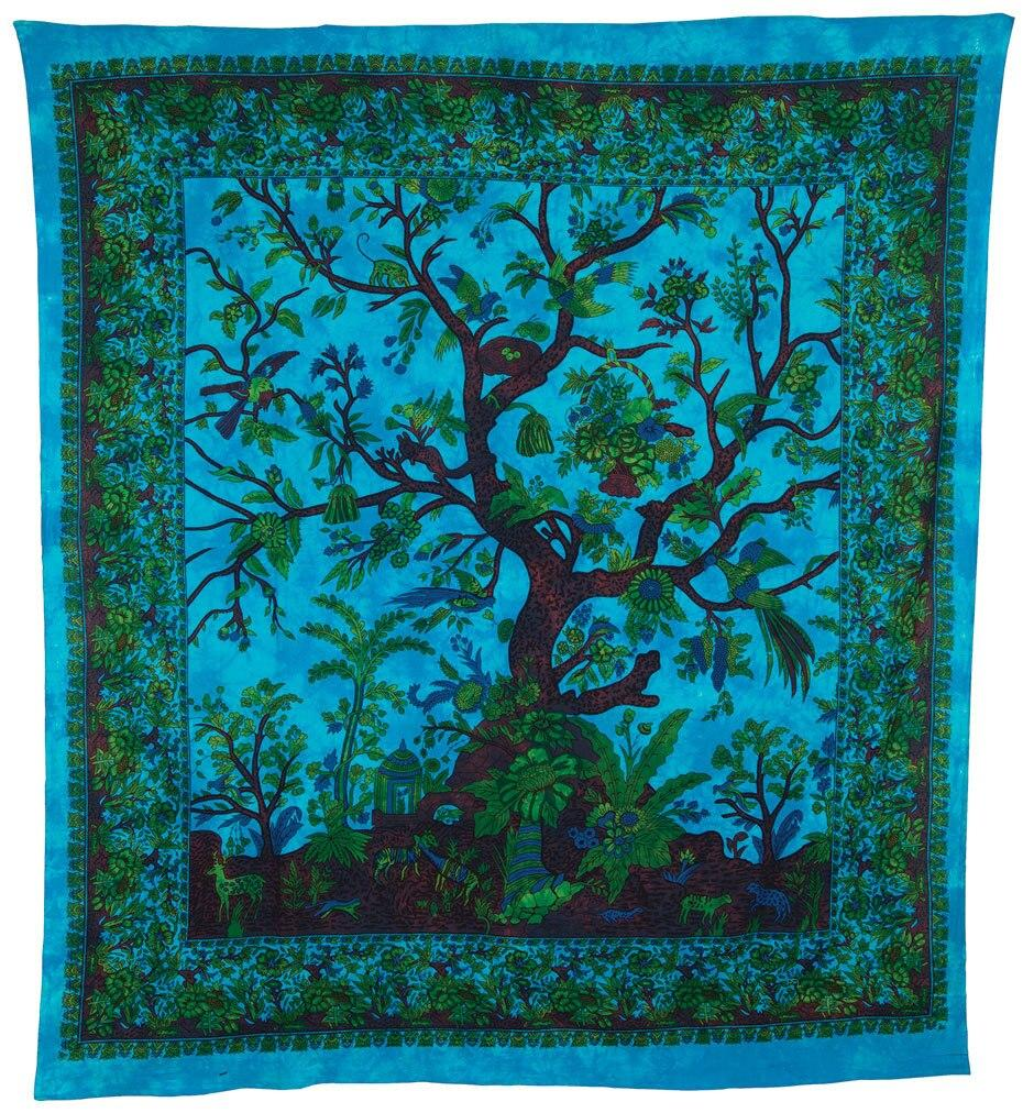 (Discontinued) Turquoise Blue Large Boho Sacred Tree of Life Tapestry - (Large, 7 X 8 Feet, 100% Cotton, Fair Trade Certified) - Luna Bazaar - Discover. Decorate. Celebrate