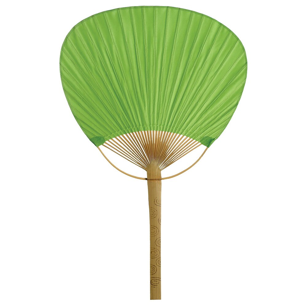 CLOSEOUT Grass Green Paper Paddle Fan, Set of 10 - Luna Bazaar | Boho & Vintage Style Decor