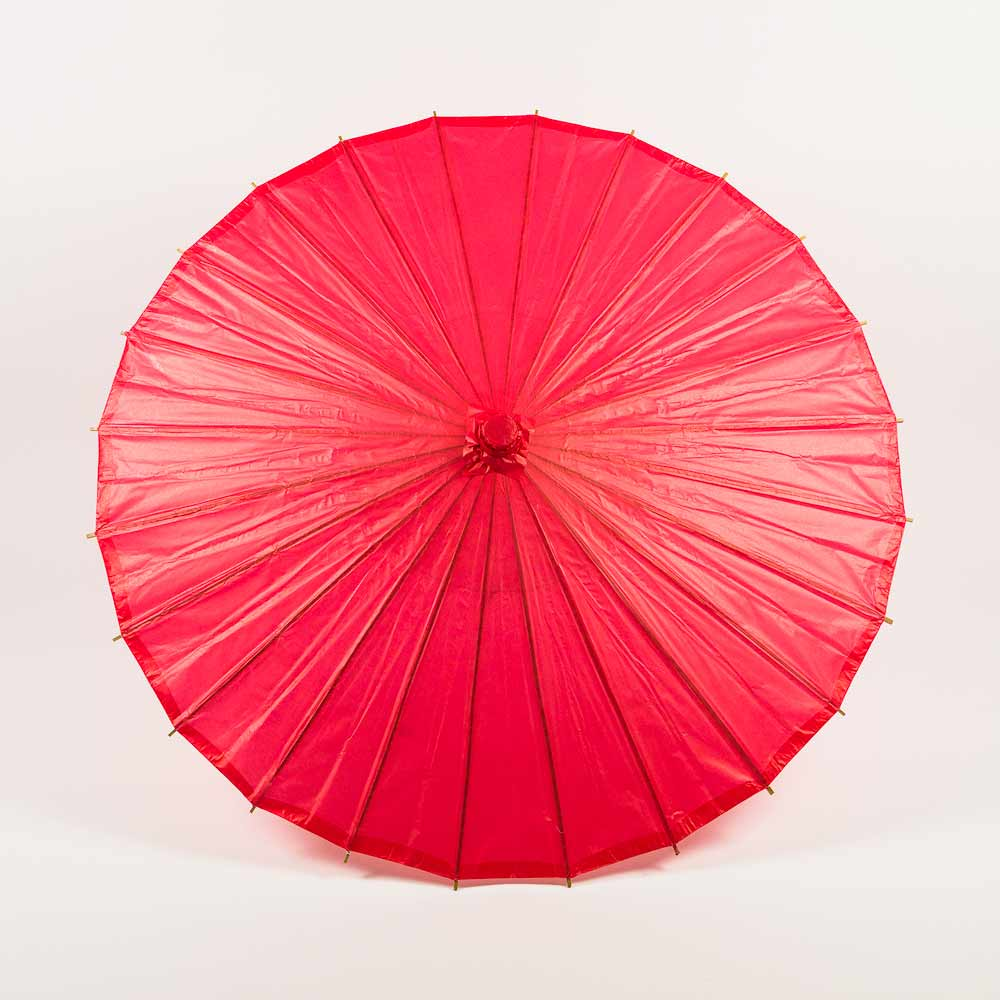 "32"" Red Paper Parasol Umbrella (Sun Protection) - Luna Bazaar 